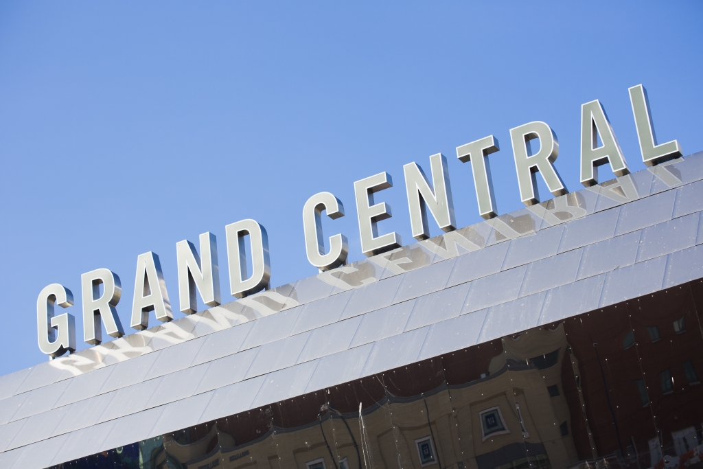 Grand Central sign above Birmingham New Street station