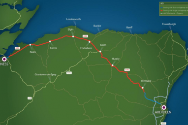 Existing route of the A96 in Scotland.