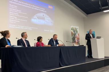 Speakers at the Arcadis/ACE fringe meeting at the Conservative Party Conference in Manchester on 3 October 2021.