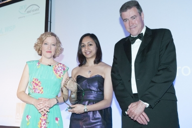 WSP's Roma Agrawal with ACO Technologies managing director Richard Hill and Channel 4's Cathy Newman
