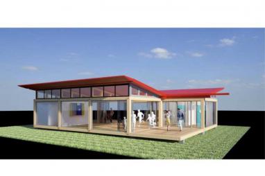 CGI of an Arcadis modular pop-up facility.