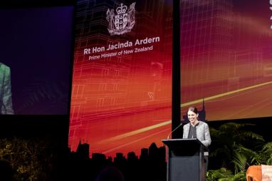 Prime minister of New Zealand, Jacinda Arden, speaking at Building Nations 2018.