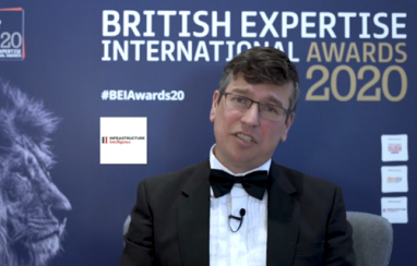British Expertise International CEO Tom Cargill speaking at the BEI Awards 2020 event.