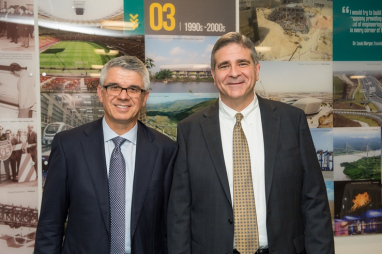 Louis Berger's CEO Jim Stamatis (left) and international president Tom Topolski (right) at the opening of their new international headquarters in Richmond, London.