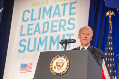 Joe Biden speaking at a climate change summit when he was US vice president in 2015.