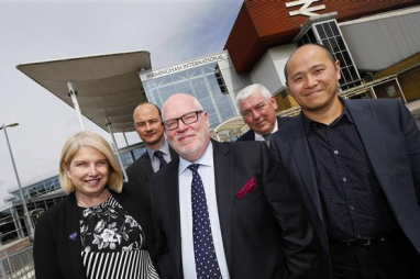 Birmingham International Station. Professional services team. l-r; Carol Stitchman (WSP), Darren Baker (Faithful+Gould), Jonathan Bretherton (Urban Growth Company), Chris Prescott (JLL) and Bosco Lam (WilkinsonEyre).