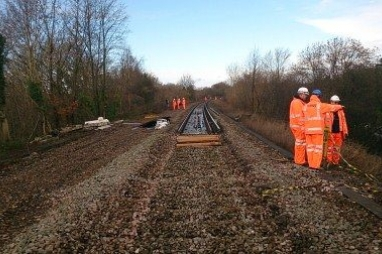 Osborne at work repairing the landslip at Botley