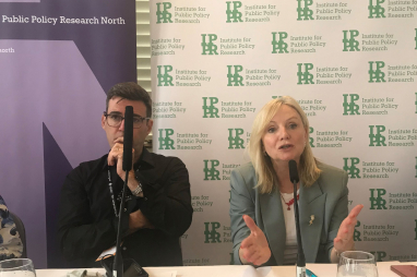 West Yorkshire mayor Tracy Brabin speaking alongside Greater Manchester mayor Andy Burnham on the fringe at Labour's conference in Brighton.