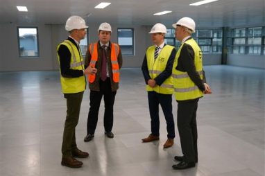 Building Scotland Fund reaches £100m milestone. Left to right: Tim Griffin, Michael Laird Associates; Cameron Cook, Amber Infrastructure; Derek Mackay, Economy Secretary; Gareth Richardson, Signal Capital.