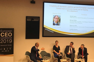KPMG's global head of infrastructure, Richard Threlfall (left) speaking at the European CEO Conference in London on 4 November 2019.