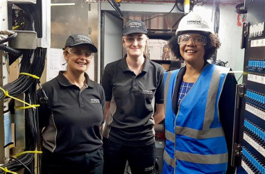 Chi Onwurah, right, on a site visit to Hitachi.