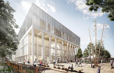 CGI of the City of London Academy, Hackney.