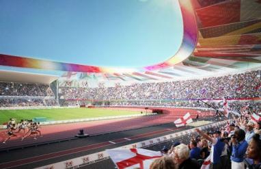 An artist's impression of the remodeled Alexander Stadium in Birmingham.