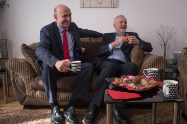 Shadow housing secretary John Healey and Jeremy Corbyn