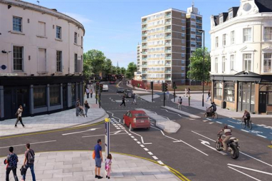 CGI of Cycleway 4 in Deptford, London. Image courtesy of TfL.