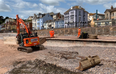 Work begins on the new Dawlish sea wall.