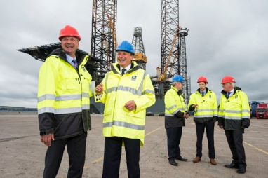 Officials from Forth Ports Ltd and AF Offshore Decom UK announce the signing of their new decomissioning joint venture.