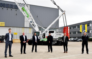 Pictured at the handover at Liebherr-GB, Biggleswade are, left to right, Select's Paul Griffin, Alex Warrington and Eddy Carr, Richard Everist and Mark West of Liebherr, Steve Bradby of Select.