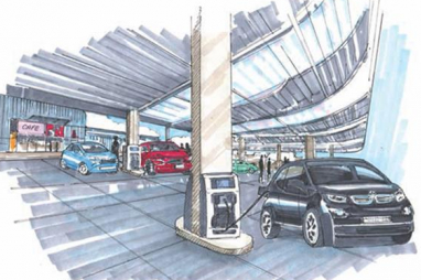 Road to Zero. Artist impression of an electric charging forecourt.