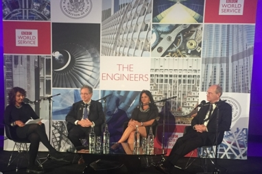 Presenter Razia Iqbal and engineers, William Baker, Ilya Espino de Marotta and Michel Virogeux on stage in London.