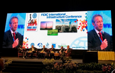 Gavin English speaking at the FIDIC general assembly event in Jakarta.