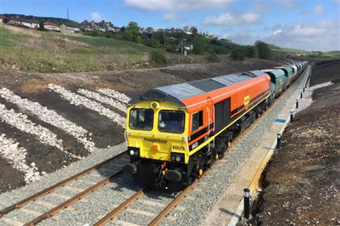 Freightliner freight train using the new sidings at Buxton