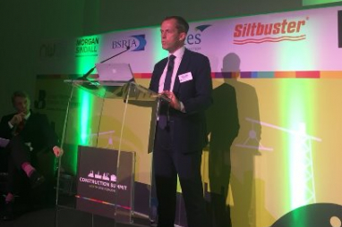 Simon Gorski, managing director UK regions at Lendlease, speaking at the Construction Summit North.