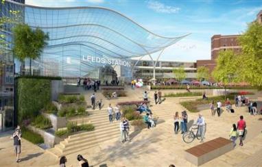 CGI of HS2 Leeds Station, Bishopgate entrance.
