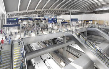 HS2. Old Oak Common station. CGI interior view of concourse and platforms.