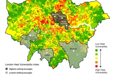 The new Heat Vulnerability Map of London.