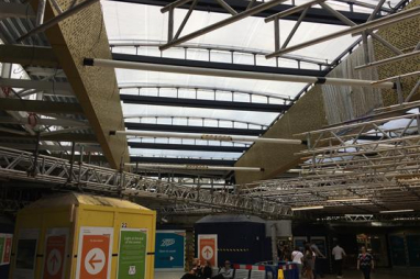 Leeds station new roof lets passengers see the light.