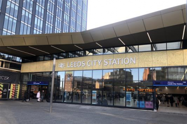 Work completes on the new entrance at Leeds railway station.