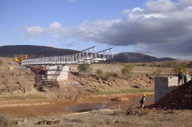 A Mabey bridge launch in South Africa.