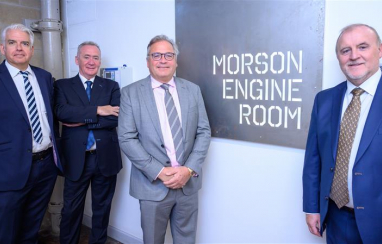 Morson Group celebrates record results. l-r: Paul Gilmour, group finance director, Kevin Philbin, non-executive chairman, Ged Mason, CEO and Kevin Gorton, group managing director.