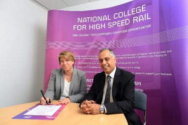 Clair Mowbray, chief executive of the National College for High Speed Rail and Nissar Mohammed, project director at Fusion.