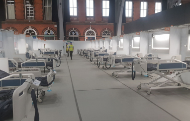 Inside the new temporary NHS Nightingale Hospital North West in Manchester.