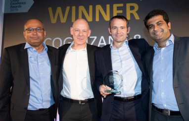 Pictured left to right at the Cloud Excellence Awards: Rohit Gupta, VP Europe, Cognizant; Keith Rogers, head of programme and project services, Network Rail; Simon Goodman, head of IT support services, Network Rail; Suresh Buddaraju, senior architect, Cognizant.