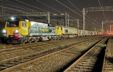 The Jumbo freightliner service on its first West Coast mainline journey.
