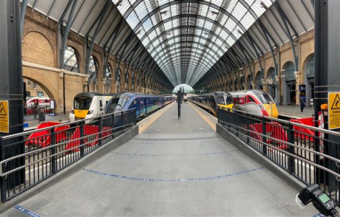 Trains line-up on the new Kings Cross platforms. l-r; Thameslink, Hull Trains, Grand Central and LNER.