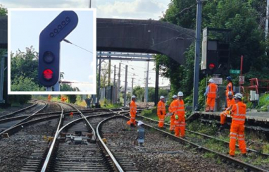 New signals being installed as part of the Trafford Park upgrade.