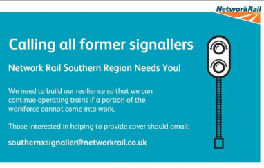 Network Rail Southern Region has appealed for former professional signallers to return to the industry during the Covid-19 crisis.