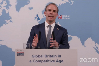 The foreign secretary Dominic Raab launching the Integrated Review.