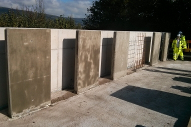 Wall panels that form the self healing concrete trials.