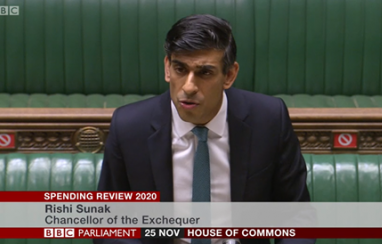 Chancellor of the exchequer, Rishi Sunak, delivering his spending review in parliament on 25 November 2020.