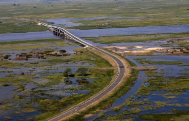The Sioma bridge across the Zambezi in Zambia's Western Province.