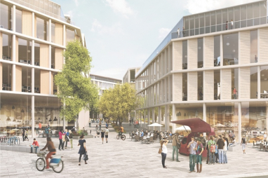 Image showing public realm enhancement as part of the University of Glasgow masterplan. (Photo: AECOM-7N)