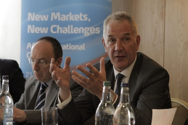 EY's Malcolm Bairstow makes a point to the ACE International Conference