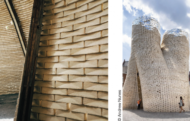Mushroom tower - mushrooms can grow from organic waste and be used for building purposes.