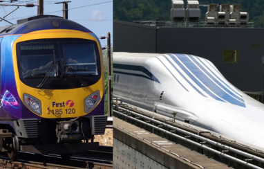 The current TransPennine Express train (left). Could this be replaced with a superfast Maglev train (right)?