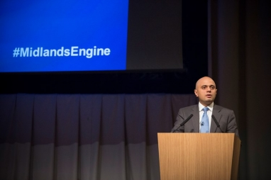 Communities secretary Sajid Javid speaking in Birmingham about the Midlands Engine initiative.
